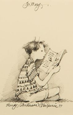 Boy Reading Original Sketch Given To Childrens Librarian Mary Calletto Rife By Wendy Anderson Halperin 1997