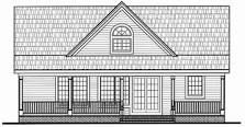 Rear Elevation of Cape Cod Cottage Country Farmhouse Traditional House Plan 79517 Farmhouse Front, Country Farmhouse, Front Entry, Entry Doors, Cape Cod Cottage, Traditional House Plans, Front Elevation, New Homes, Floor Plans