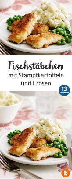 Fischstäbchen mit Stampfkartoffeln und Erbsen | 4 Portionen, 13 SmartPoints/Portion, Weight Watchers, fertig in 50 min.