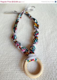ON SALE Gray and Pink Beaded Nursing Necklace Fabric by RubyRebels, $11.69
