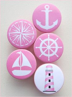 Tiroir nautique rose boutons ancre boutons phare voilier