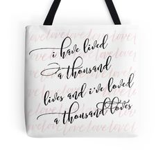 """""""I Have Lived A Thousand Lives 2"""" Tote Bags by booklove   Redbubble"""