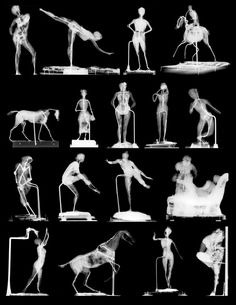 Selected radiographs of Edgar Degas' wax sculptures at the National Gallery of Art, Washington, revealing a variety of armatures.