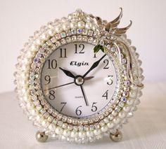 Rhinestone & Crystal Beaded Alarm Clock/White Wedding Dove. $42.00, via Etsy.