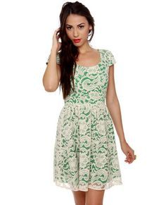 Right Lace Right Time Green and Cream Lace Dress