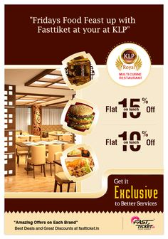The royal meal by #KLP is on it's way for you this #weekend…   Grab this yummy #discount #coupon for #FREE on bookings of #Movies or #Mobile recharges via #Fastticket.in