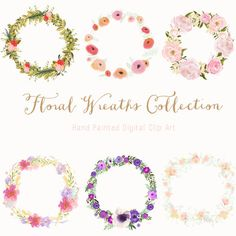 Hand Drawn Floral Wreath Collection Clip Art by CreateTheCut