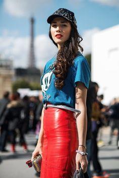 VINTAGE 80s 90s RED 100% Leather Pencil Mini Skirt S-M UK10 12 | eBay