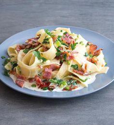 Špagety carbonara jednoduše a chutně | Recepty Albert Potato Salad, Cabbage, Potatoes, Meat, Chicken, Vegetables, Ethnic Recipes, Minecraft, Lasagna
