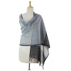NOVICA Grey Cotton and Silk Shawl with Black Floral Border ($30) ❤ liked on Polyvore featuring accessories, scarves, clothing & accessories, grey, shawls, novica, sheer shawl, gray shawl, patterned scarves and print scarves
