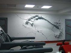 Imprint of a foot onto the wall, can also be done of hand along with cracks to emphasise strength