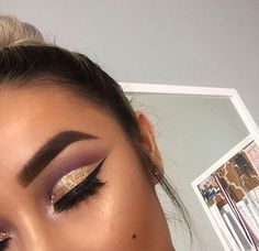 Pinterest: @Natrulique Hair & Holistic Brown cut crease with a gold glitter lid.