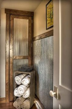 Galvanized sheet metal as wainscot.love this idea for a mudroom or basement Galvanized sheet metal Galvanized Sheet Metal, Galvanized Decor, Corrugated Tin, Galvanized Tin Walls, Galvanized Shower, Wood Trim, Deco Design, Design Design, My New Room