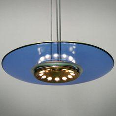 Max Ingrand; Glass and Brass Ceiling Light for Fontana Arte, c1954.