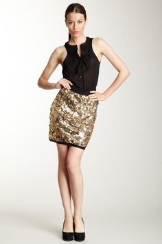 D Collection Gold Sequin Skirt -- perfect for a fun night out!