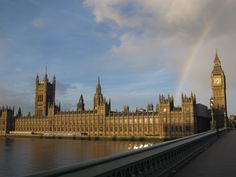 rainbow over Westminster, London.