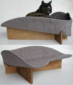 Modern retro cat bed in grey linen look by likekittysville on Etsy