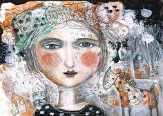 Mixed Media Painting Original Modern Folk Art  by kittyjujube, $30.00