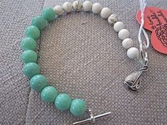 Bauble Bracelet - Turquoise, White, & Silver - Sailboat Charm - Toggle Clasp