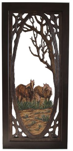 """Rustic Carved Screen Door with Horses Item #SD00106 36""""W x 80""""T x 1""""D Single Sided Carving - $1195 Add $495 for Double Sided Carving."""