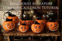 Tutorial - How To Make a Grinny Pumpkin Cauldron - 1/12 scale dollhouse miniature