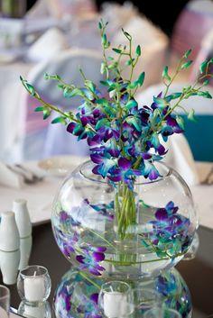 Wedding Diy Centerpieces Purple Blue Orchids Ideas For 2019 Blue Orchid Wedding, Wedding Flowers, Blue Orchid Centerpieces, Peacock Wedding Centerpieces, Wedding Centrepieces, Wedding Table, Diy Wedding, Wedding Ideas, Blue And Purple Orchids