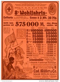 Original-Werbung/Inserat/ Anzeige 1902 :  1/1 SEITE: 8.WOHLFAHRTS-LOTTERIE / MÜLLER BERLIN - ca. 180 X 250 mm