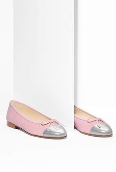 Ballerinas, iridescent fabric & crumpled lambskin-pink & gray -570  CHANEL