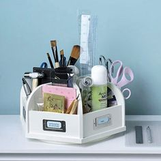 I think this would be awesome for makeup too.  Paint it the color of your bathroom and put like things together.