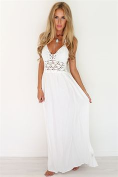 eb9c16a469 Crochet White Maxi | SABO SKIRT Ivory Dresses, Formal Dresses, Maternity  Dresses, Maxi