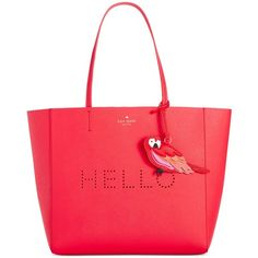 kate spade new york Hello Hallie Tote (445 CAD) ❤ liked on Polyvore featuring bags, handbags, tote bags, watermelon, handbags tote bags, tote purse, tote bag purse, handbags totes and red tote