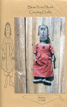 """FREE US SHIP Bless Your Heart Country Crafts 22"""" Doll Hortense Primitive Folk Art Uncut New Old Store Stock Sewing Pattern Ragdoll cloth by LanetzLivingPatterns on Etsy"""