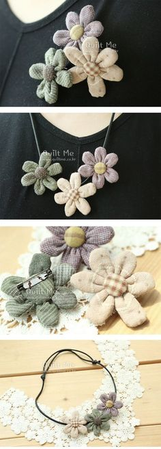 New Crochet Bag Kids Fabrics Ideas Fabric Flower Necklace, Fabric Flower Pins, Textile Jewelry, Fabric Jewelry, Brooches Handmade, Handmade Flowers, Beaded Flowers, Crochet Flowers, Fabric Crafts