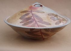 Cathi Jefferson's large lidded serving dish, leaf design. Cathi Jefferson was featured in the February 2015 issue of Ceramics Monthly. http://ceramicartsdaily.org/ceramics-monthly/ceramics-monthly-february-2015/