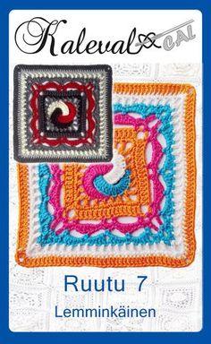 Kalevala CAL-yhteisvirkkausprojekti, ruutu 7. Design Mirva Nikkinen. Virkattu peitto. #crochetsquare Crochet Squares, Crochet Granny, Crochet Motif, Crochet Afghans, Granny Squares, Crochet Basket Pattern, Crochet Patterns, Crochet Ideas, Paracord