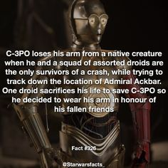Here's why had a red arm in the force awakens! It's only to honour them for a while then he replaced the arm. by starwarsfacts_ Star Wars Trivia, Star Wars Facts, Star Wars Quotes, Star Wars Droids, The Force Is Strong, Star Citizen, Love Stars, Clone Wars, Fun Facts