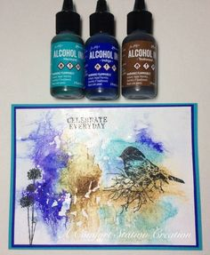 This is a new technique for me, and I'm going to make a couple more backgrounds this morning. I tore a piece of cling wrap to larger than my A2 card, dropped dots of alcohol ink in a few places, sprayed with water, and put my glossy card stock on top, and then turned the whole thing over and smooshed the cling wrap a bit. I also tried this with Distress reinkers, and while I had to leave the wrap on that card, the alcohol Inks immediately created their design on the paper so I was able ...