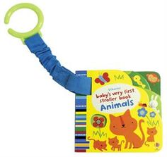 Animals Stroller Book. NEW TITLE!! Very simple board books with brightly colored, high-contrast illustrations, and holes and finger trails suitable for babies and very young children. With an elastic attachment to attach the book to a stroller or baby gym, meaning it is always on hand to entertain and amuse, and will never get lost. Build their love of reading at an early! #literacy #babygiftidea