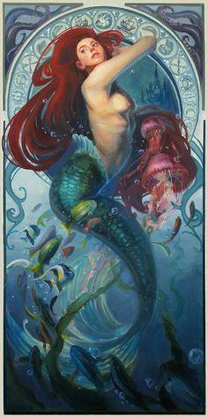 Ariel inspired by Mucha by ~AquaJ