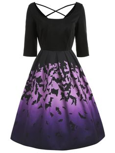 Halloween Bats Print Fit and Flare Dress--Fit and Flare Dress casual,Fit and Flare Dress with sleeves,Fit and Flare Dress formal,Fit and Flare Dress and Flare Dress short,Fit and Flare Dress s Types Of Dresses, Plus Size Dresses, Dresses For Sale, Dresses Online, Halloween Bridesmaid Dress, Halloween Dress, Halloween Bats, 1950s Halloween, Vintage Halloween