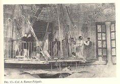 """Montaje del cielo: """"cosido"""" del cielo al marco de sus puertas usando la Coronación #MisteridElx Foto: Pedro Ibarra (1901)"""