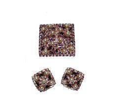 Alice Caviness Rhinestone Brooch & Earrings by MadgesHatBox, $395.00