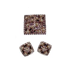 Alice Caviness Rhinestone Brooch & Earrings by MadgesHatBox,