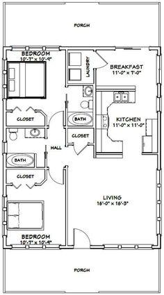 Duplex Floor Plans, Small House Floor Plans, Cabin Floor Plans, Small House Plans Under 1000 Sq Ft, The Plan, How To Plan, 2 Bedroom House Plans, Two Bedroom Tiny House, Casas Containers