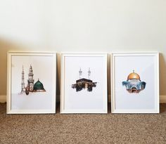 Set of 3 Islamic Landmark Prints (The Holy Kabah – Masjid an Nabawiy – The Dome of the Rock) Available with frame - ART Watercolor Painting Islamic Decor, Islamic Wall Art, Islamic Posters, Dome Of The Rock, Islamic Paintings, Buch Design, Islamic Wallpaper, Islamic Art Calligraphy, Islamic Pictures
