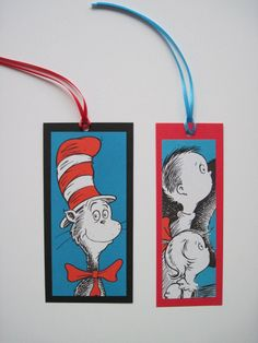 Recycled Cat in the Hat bookmarks Dr. #Seuss book pages