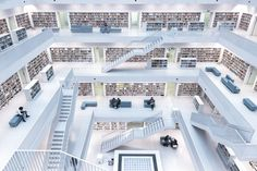 <b>Levels of Reading</b> - 1st Place, Cities. This photo depicts the modern interior of the city library in Stuttgart. With its wide-open space in the center, where natural light comes through the windows on the top, it has a very unique atmosphere, where you can broaden your knowledge.