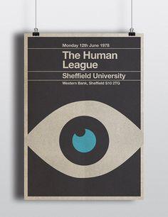 The Human League mini-poster - mid century / minimalist design