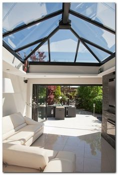Image detail for -to flood into your new flat roof extension with a glass roof lantern .future all season sunroom perhaps? Casa Patio, Patio Roof, Pergola With Roof, Pergola Plans, Pergola Kits, Cheap Pergola, Pergola Ideas, Orangerie Extension, Glass Extension