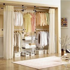 Deluxe 4 Tier & Shelf Hanger with Curtain(Clothing Rack) Wardrobe Design, Closet Designs, Home, Curtains For Closet Doors, Open Closet, Shelf Hanger, Closet Organization, Clothing Rack, Closet Doors